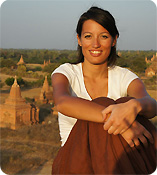 Anna in front of the temples of Bagan