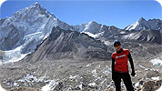 Exodus' Lou Day trekking in the Himalaya