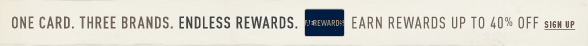One Card. Three Brands. Endless Rewards. AEREWARD$ | Earn Rewards Up To 40% Off| Sign Up