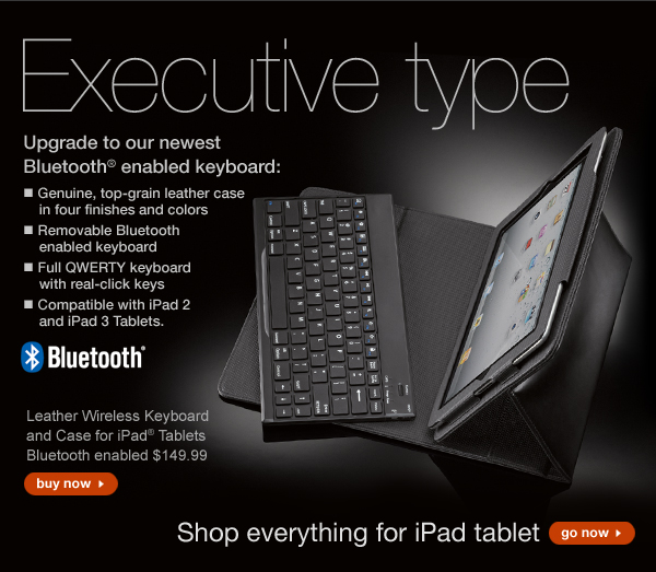 Upgrade to our newest Bluetooth® enabled keyboard! Leather Wireless Keyboard and Case for iPad® Tablets Bluetooth enabled $149.99