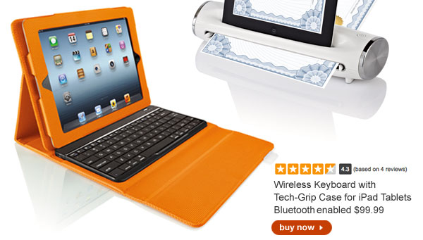 Wireless Keyboard with Tech-Grip Case for iPad Tablets, Bluetooth enabled $99.99