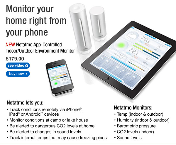 NEW - Netatmo App-Controlled Indoor/Outdoor Environment Monitor - $179.99