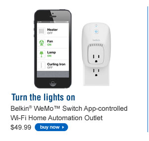 Belkin® WeMo™ Switch App-Controlled Wi-Fi Home Automation Outlet $49.99