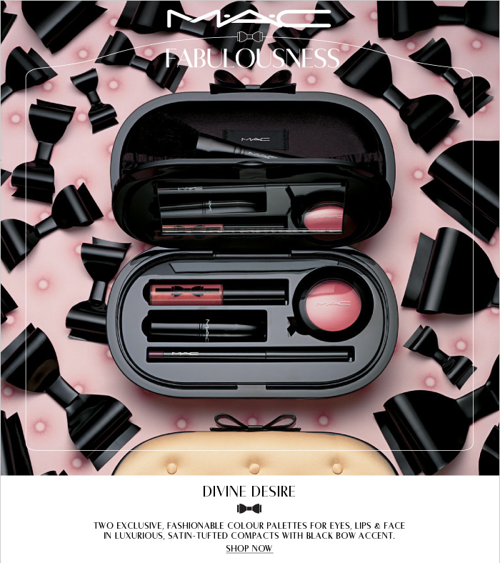 Two exclusive, fashionable colour palettes for eyes, lips & face in luxurious, satin-tufted compacts with black bow accent.     SHOP NOW