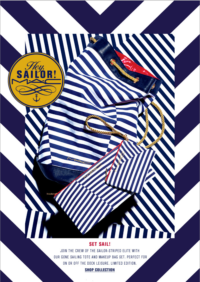 Join the crew of the sailor-striped elite with our Gone Sailing Tote and   Makeup Bag Set. Perfect for on or off the dock leisure. Limited edition
