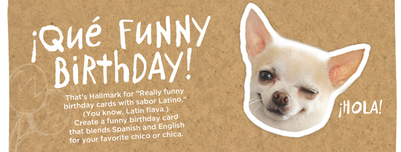 "¡Qué Funny Birthday! That's Hallmark for ""Really funny birthday cards with sabor Latino."" (You know, Latin flava.) Create a funny birthday card that blends Spanish and English for your favorite chico or chica."