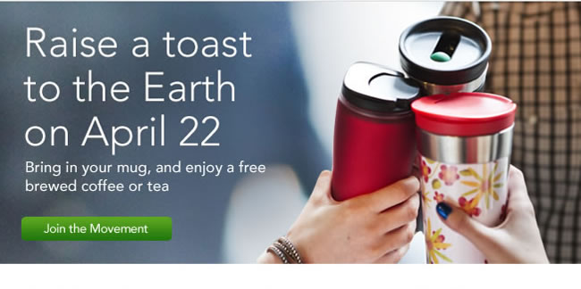 Raise a toast to the Earth on April 22 Bring in your mug, and enjoy a free brewed coffee or tea Join the Movement >
