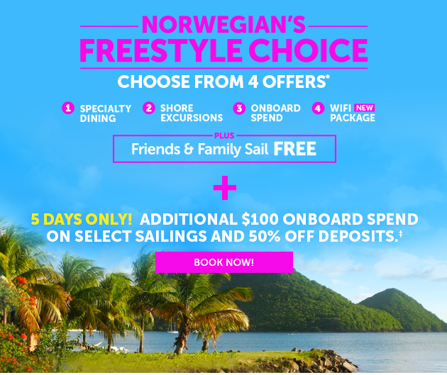Choose From 4 Offers. Plus Get Up To $100 Onboard Spend & 50% Off Deposits.