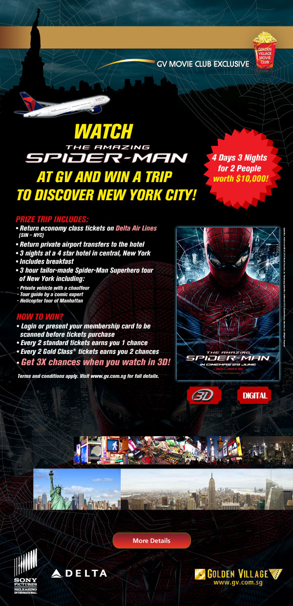 Watch The Amazing Spider-Man at GV and win a trip to discover New York City! Terms & conditions apply.