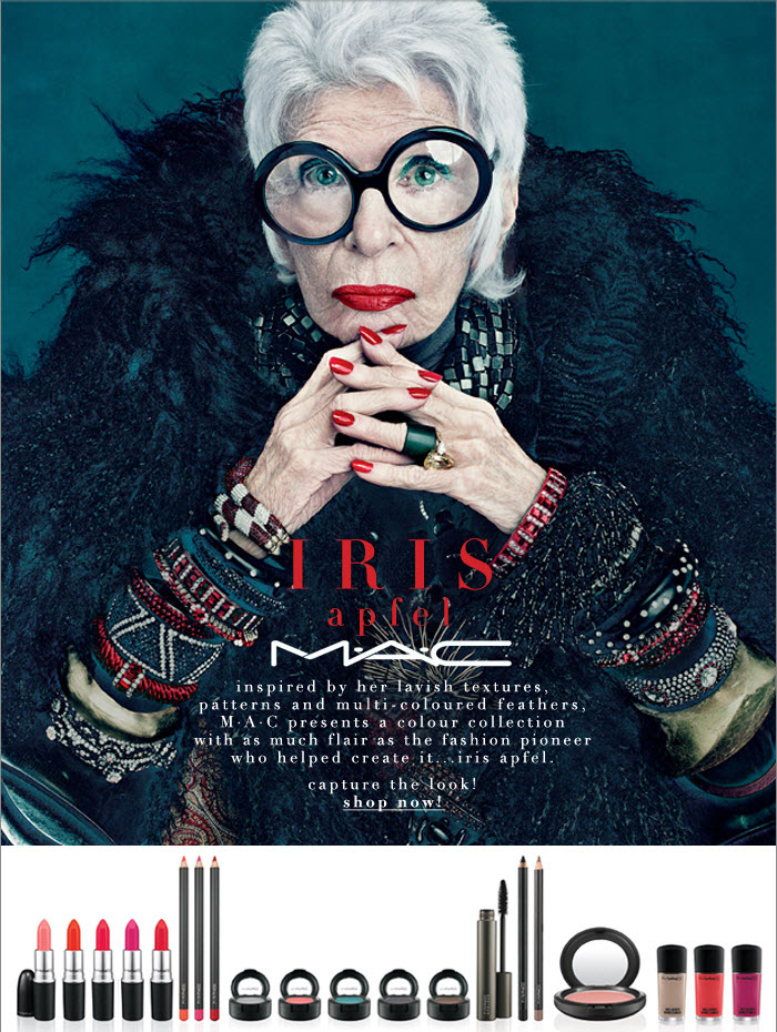 Inspired by her lavish textures, patterns and multi-coloured feathers, M·A·C presents a colour collection with as much flair as the fashion  pioneer who helped create it...Iris Apfel.