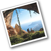 Cave and view to the Costa Blanca on the Sierra de Aitana trek